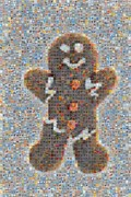 Contemporary Heart Collage Posters - Holiday Hearts Gingerbread Man Poster by Boy Sees Hearts