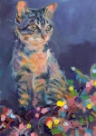 Gray Cat Paintings - Holiday Lights by Kimberly Santini