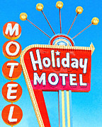 Signage Digital Art Framed Prints - Holiday Motel Las Vegas Framed Print by Wingsdomain Art and Photography