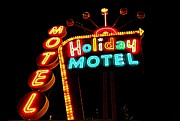 Electric Signs Posters - Holiday Motel Poster by Randall Weidner