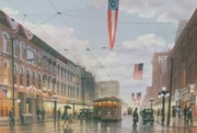 Trolley Paintings - Holiday Shoppers by C Robert Follett