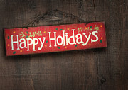 Weathered Photo Posters - Holiday sign on distressed wood wall Poster by Sandra Cunningham