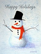 Cold Pastels - Holiday Snowman by Marna Edwards Flavell