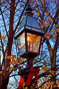 Christmas Greeting Posters - Holiday Streetlamp Poster by Joann Vitali