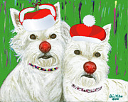 Christmas Dogs Digital Art Prints - Holiday Westies Print by Ania M Milo