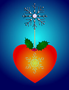 Snowflake Mixed Media Posters - Holidays Love  Poster by Mira Dimitrijevic