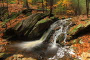 Belchertown Metal Prints - Holland Glen Waterfall in Autumn Metal Print by John Burk