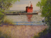 Michigan Pastels Prints - Holland Harbor Print by Sandra Strohschein