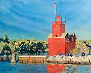 Lake Michigan Painting Originals - Holland Lighthouse - Big Red by LeAnne Sowa