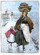 Basket Head Prints - Holland: Skating, 1891 Print by Granger
