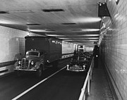 Vintage Police Vehicle Framed Prints - Holland Tunnel, Nyc Framed Print by Photo Researchers