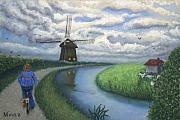 Biking Pastels - Holland Windmill Bike Path by Minaz Jantz