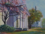 Library Paintings - Hollis Social Library in Spring by Ken Fiery