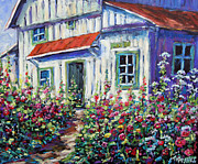 Canadian Artist Painter Painting Originals - Holly Hocks and Wild Flowers by Prankearts by Richard T Pranke