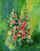 Holly Hocks Paintings - Holly Hocks by Joan Nee