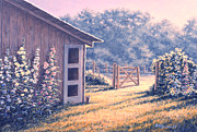 Barn Prints - Holly Hocks Print by Richard De Wolfe