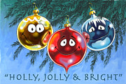 Cartoon Characters Framed Prints - Holly Jolly and Bright Framed Print by Richard De Wolfe