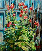 Taos Prints - Hollyhock Delight Print by Marie Massey