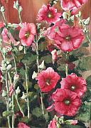 Sokolovich Painting Prints - Hollyhocks Along The Fence Print by Ann Sokolovich