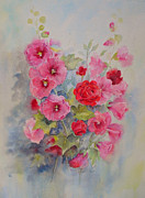 Beatrice Cloake - Hollyhocks and red roses