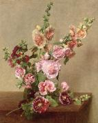 Roses Tremieres (hollyhocks) Posters - Hollyhocks Poster by Ignace Henri Jean Fantin Latour