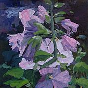J R Baldini Metal Prints - Hollyhocks Metal Print by J R Baldini