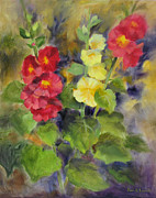 Flowers Impressionist Paintings - Hollyhocks by Karin  Leonard