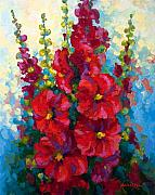 Rose Painting Posters - Hollyhocks Poster by Marion Rose