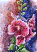 Hollyhocks Posters - Hollyhocks Poster by Marsha Elliott
