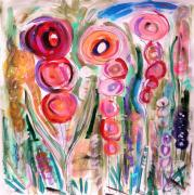 Primitive Drawings - Hollyhocks of the Garden by Mary Carol Williams