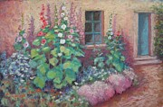 Adobe Building Pastels - Hollyhocks Revisited by Julie Mayser