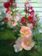 Newell Framed Prints - Hollyhocks Up Close Framed Print by Jacki Newell