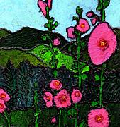Hollyhocks Prints - Hollyhocks Print by Wayne Potrafka