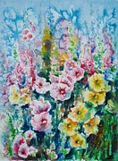 Hollyhocks Posters - Hollyhocks  Poster by Zaira Dzhaubaeva