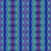 Repeat Patterns Digital Art Posters - Hollyhox as Diamonds in the Blue Poster by Sue Duda