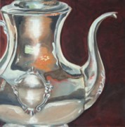 Sterling Silver Metal Prints - Hollys Sterling Coffee Pot Metal Print by Amy Higgins