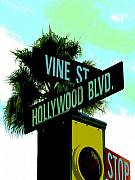 Signs Digital Art Framed Prints - Hollywood and Vine Framed Print by Audrey Venute