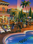 Pools Framed Prints - Hollywood Ants Cocktail party Framed Print by Robin Moline