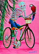 Dia De Los Muertos Framed Prints - Hollywood Bicycle Man Framed Print by Heather Calderon