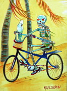 Mexican Painting Originals - Hollywood Bicycle Woman by Heather Calderon