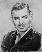 Star Drawings Posters - Hollywood greats Clark Gable Poster by Andrew Read