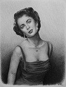 Original Print Drawings Framed Prints - hollywood greats Elizabeth Taylor Framed Print by Andrew Read