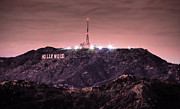 Griffith Park Prints - Hollywood Sign At Night Print by Alexis Birkill