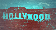 Los Angeles Digital Art Metal Prints - Hollywood Sign Metal Print by Irina  March