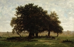 Livestock Paintings - Holm Oaks by Pierre Etienne Theodore Rousseau