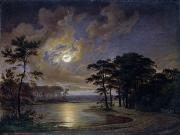 Thatched Posters - Holstein Sea Moonlight Poster by Johann Georg Haeselich