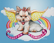 Puppy Mixed Media - Holy Angel by Catia Cho