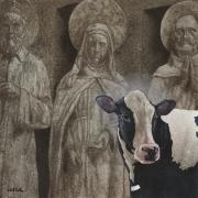 Black And White. Paintings - Holy Cow... by Will Bullas
