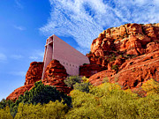 National Mixed Media Prints - Holy Cross or Red Rock Chapel Print by Nadine and Bob Johnston