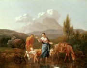 Holy Land Painting Framed Prints - Holy family at a stream Framed Print by Karel Dujardin